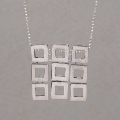 Sterling silver pendant necklace, 'Fair Square' - Handmade Sterling Silver Pendant Necklace