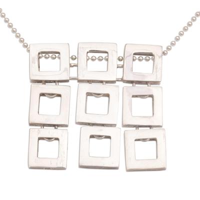 Sterling silver pendant necklace, 'Fair Square' - Handmade Sterling Silver Pendant Necklace