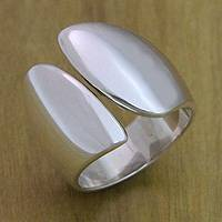Sterling silver cocktail ring, 'Angel Wings' - Fair Trade Modern Women's Wrap Ring from Bali
