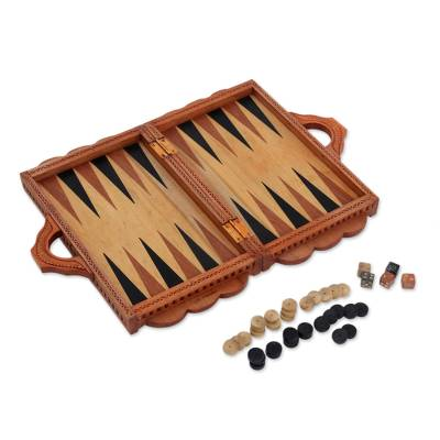 Wood backgammon set, 'Still in Love' - Wood Backgammon Set