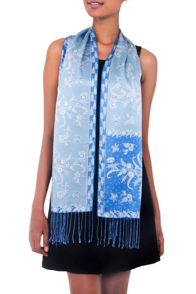Silk batik scarf, 'Sky Blue Blossom' - Batik Silk Scarf from Indonesia