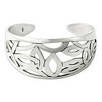 Sterling silver cuff bracelet, 'Cat's Eyes'