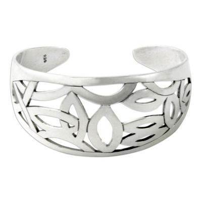 Sterling silver cuff bracelet, 'Cat's Eyes' - Handmade Sterling Silver Cuff Bracelet