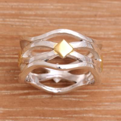 silver ring chain puzzle quest - Gold Accent Handcrafted Silver Ring from Bali