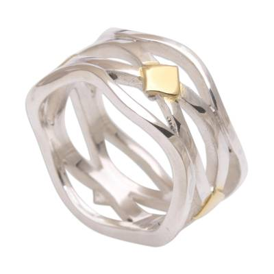 Gold accent silver band ring, 'Adrift on the Sea' - Gold Accent Handcrafted Silver Ring from Bali
