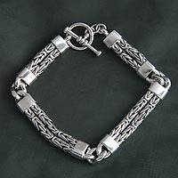 Men's sterling silver braided bracelet, 'Hand in Hand' - Men's Sterling Silver Chain Bracelet