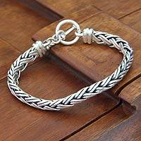 Sterling silver braided bracelet, 'Connected Lives'