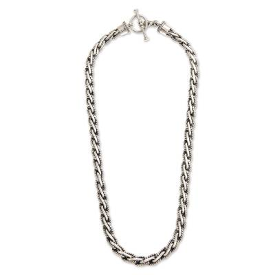 Men's sterling silver chain necklace, 'Silver Surf' - Indonesian Sterling Silver Necklace