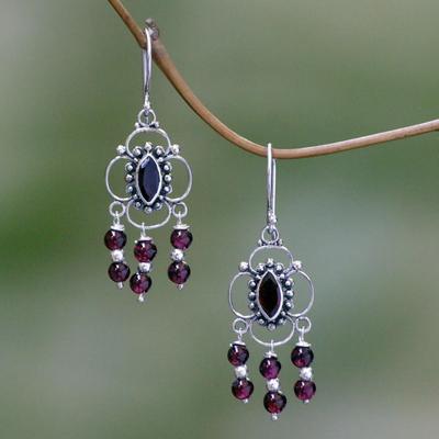 Garnet Chandelier Earrings Love Blossoms Sterling Silver