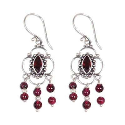 Garnet Sterling Silver Chandelier Earrings