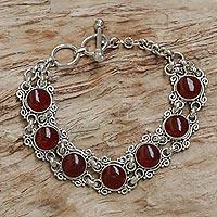 Carnelian wristband bracelet, 'Radiant Queen' - Carnelian Silver Wristband Bracelet