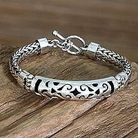 Sterling silver braided bracelet, 'Blessing'