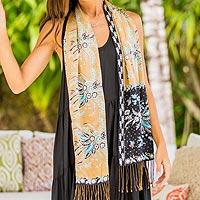 Batik silk scarf, 'Golden Paradise' - Handmade Silk Batik Scarf with Floral Motifs from Bali