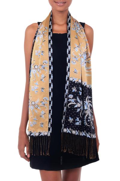 Batik silk scarf, 'Golden Paradise' - Handmade Silk Batik Scarf
