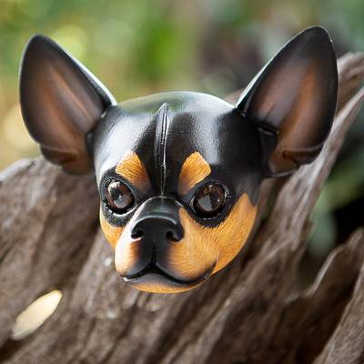 Wood mask, 'Courageous Black Chihuahua' - Wood mask