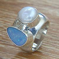 Opal and pearl cocktail ring, 'Never Apart' - Opal and Pearl Sterling Silver Ring