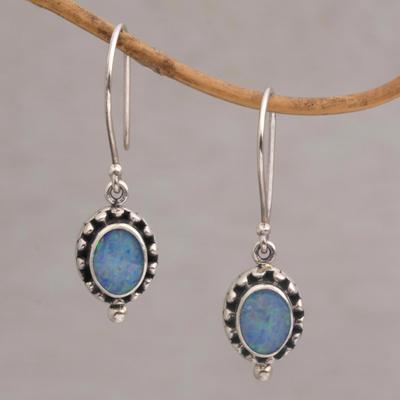Opal dangle earrings, 'Fairy Princess' - Sterling Silver Opal Dangle Earrings