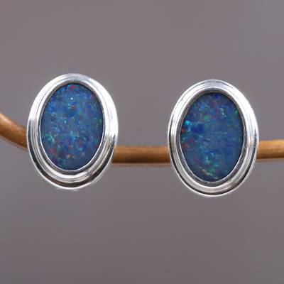 Opal button earrings, 'Honesty' - Handcrafted Sterling Silver and Opal Earrings