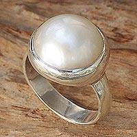 Cultured pearl dome ring, 'Bubble Beauty' - Pearl Designer Ring in Sterling Silver