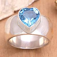 Blue topaz solitaire ring, 'Heart Voice' - Heart Shaped Sterling Silver and Blue Topaz Ring