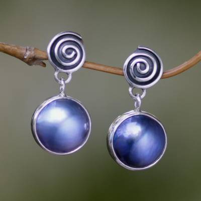 Cultured pearl dangle earrings, 'Hypnotic Blue' - Sterling Silver Cultured Pearl Dangle Earrings