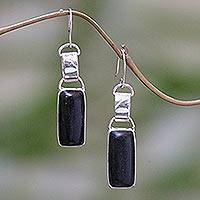 Makassar ebony earrings, 'Flattery' - Modern Makassar Ebony Wood Dangle Earrings