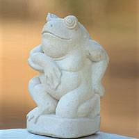Sandstone sculpture, 'Gentleman Frog' - Fair Trade Garden Sculpture