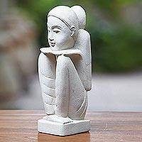 Sandstone sculpture, 'Sensitive Mood' - Handmade Stone Sculpture