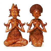 Wood sculptures, 'Wedding Couple' (pair) - Indonesian Prayer Sculpture (Pair)