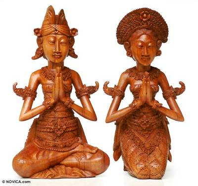 Wood sculptures, 'Wedding Couple' (pair) - Indonesian Prayer Sculpture (Pair)