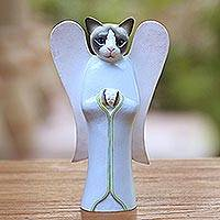 Wood statuette, 'Kitty Cat Angel' - Wood statuette