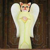 Wood sculpture, 'Tabby Cat Angel' - Wood Animal Sculpture