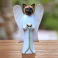 Wood statuette, 'Angelic Siamese Cat' - Wood statuette