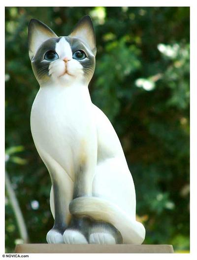 Wood statuette, 'Blue Eyed Kitten' - Wood statuette