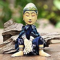 Wood display doll, 'The Mystic Hermit' - Cultural Wood Decorative Display Doll