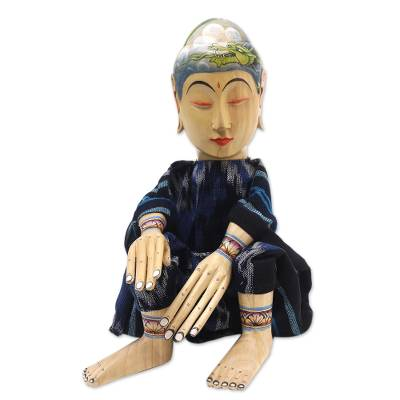 Wood display doll, 'The Mystic Hermit' - Cultural Wood Decorative Display Doll