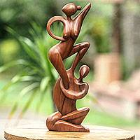 Wood statuette, 'Gymnast Couple' - Wood statuette