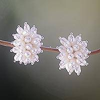 Pearl cluster earrings, 'Rice Cluster' - Sterling Silver Pearl Button Earrings