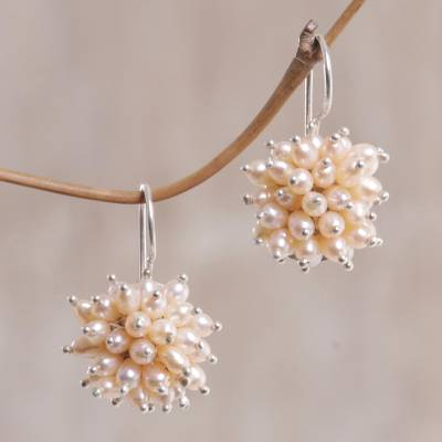 Pearl cluster earrings, 'Pink Cluster' - Pearl cluster earrings
