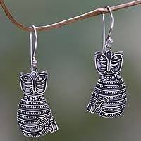 Sterling silver dangle earrings, 'Balinese Cat' - Handcrafted Indonesian Sterling Silver Cat Dangle Earrings