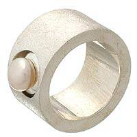 Cultured pearl band ring, 'Simplicity' - Handmade Sterling Silver and Pearl Band Ring