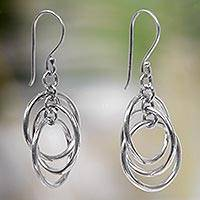 Sterling silver dangle earrings, 'Ring Ring'