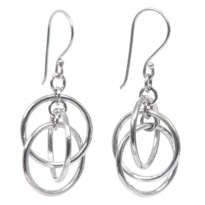 Sterling silver dangle earrings, 'Ring Ring' - Sterling silver dangle earrings