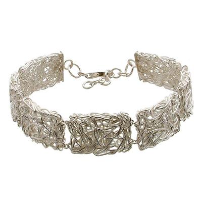 Sterling silver link bracelet, 'Energized' - Sterling silver link bracelet