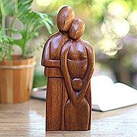 Wood statuette, 'Happy Family' - Handcrafted Bali and Java Indonesian Wooden Family Sculpture