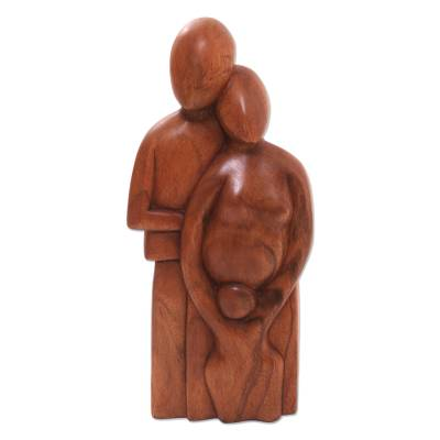 Wood statuette, 'Happy Family' - Original Wood Sculpture from Indonesia