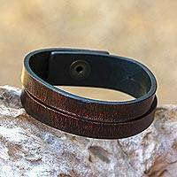 Leather bracelet, 'Duality in Brown' (medium) - Modern Leather Wristband Bracelet (Medium)