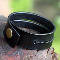 Leather bracelet, 'Duality in Black' - Handmade Leather Wristband Bracelet