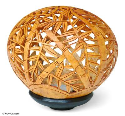 Handcrafted Leaf and Tree Coconut Shell Carving