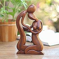Wood sculpture, 'Sweethearts' - Hand Carved Romantic Wood Sculpture